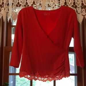 Coldwater Creek long sleeve v neck with lace
